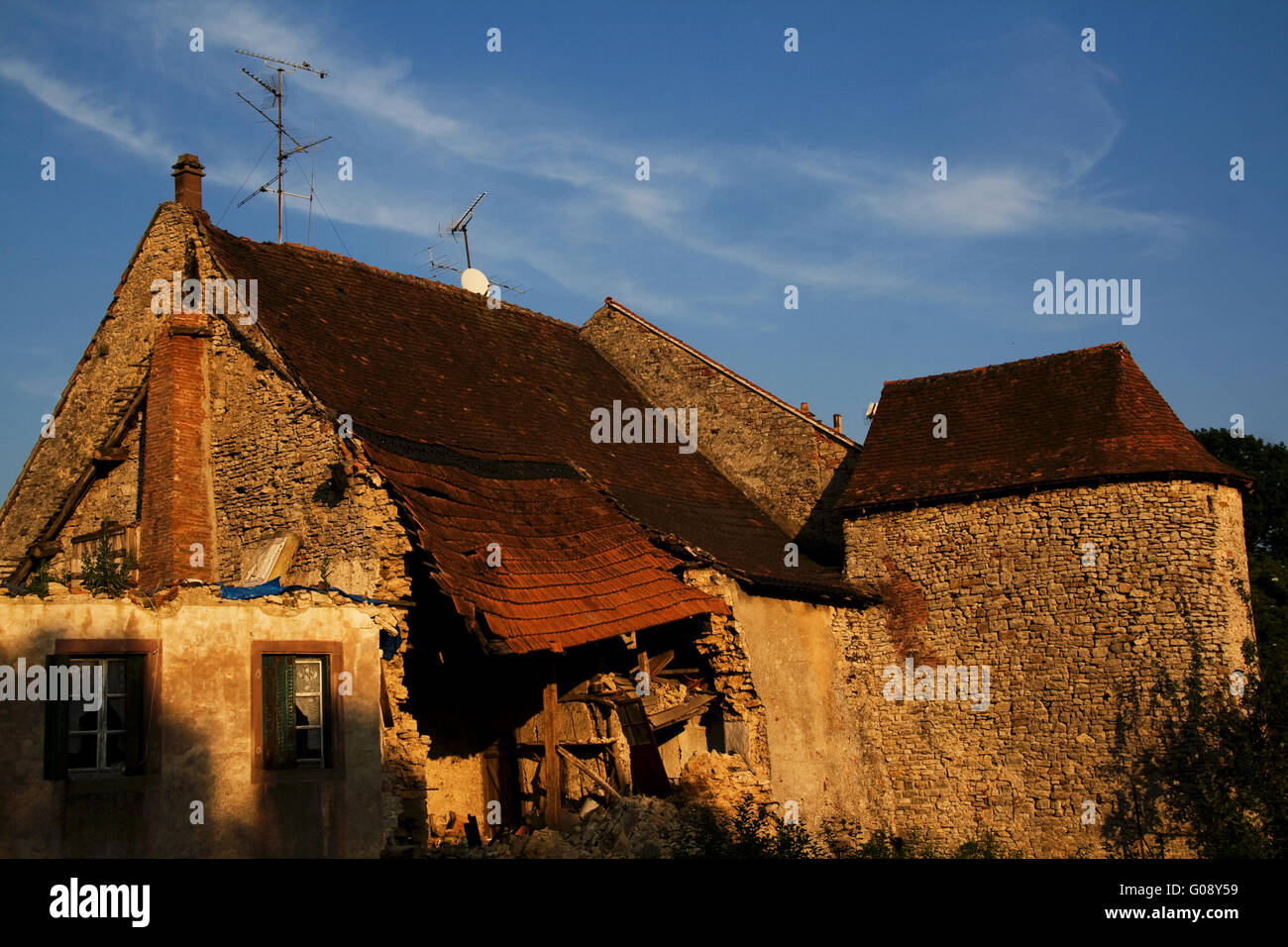 Old town wall, Fénétrange, Lorraine, France - Stock Image