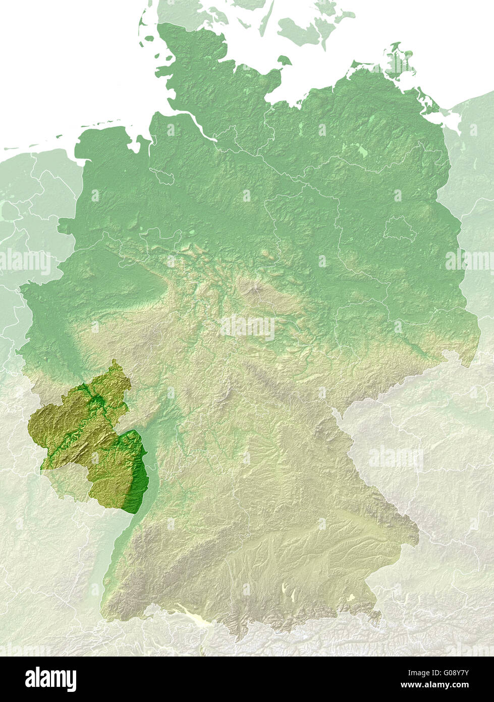 Rhineland-Palatinate - topographical relief map - Stock Image