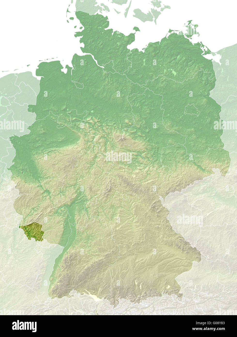 Saarland - topographical relief map Germany - Stock Image