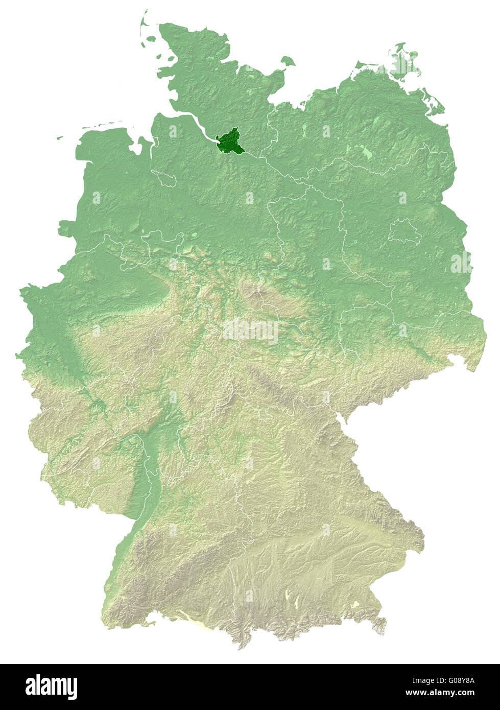 Hamburg - topographical relief map Germany - Stock Image