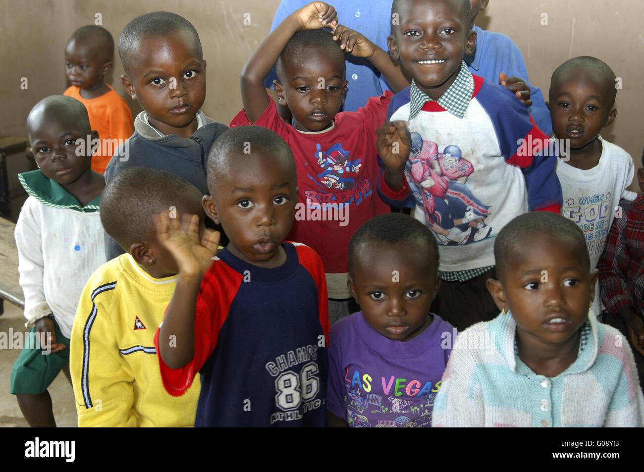 pre-school children in a day care centre in Akropo - Stock Image