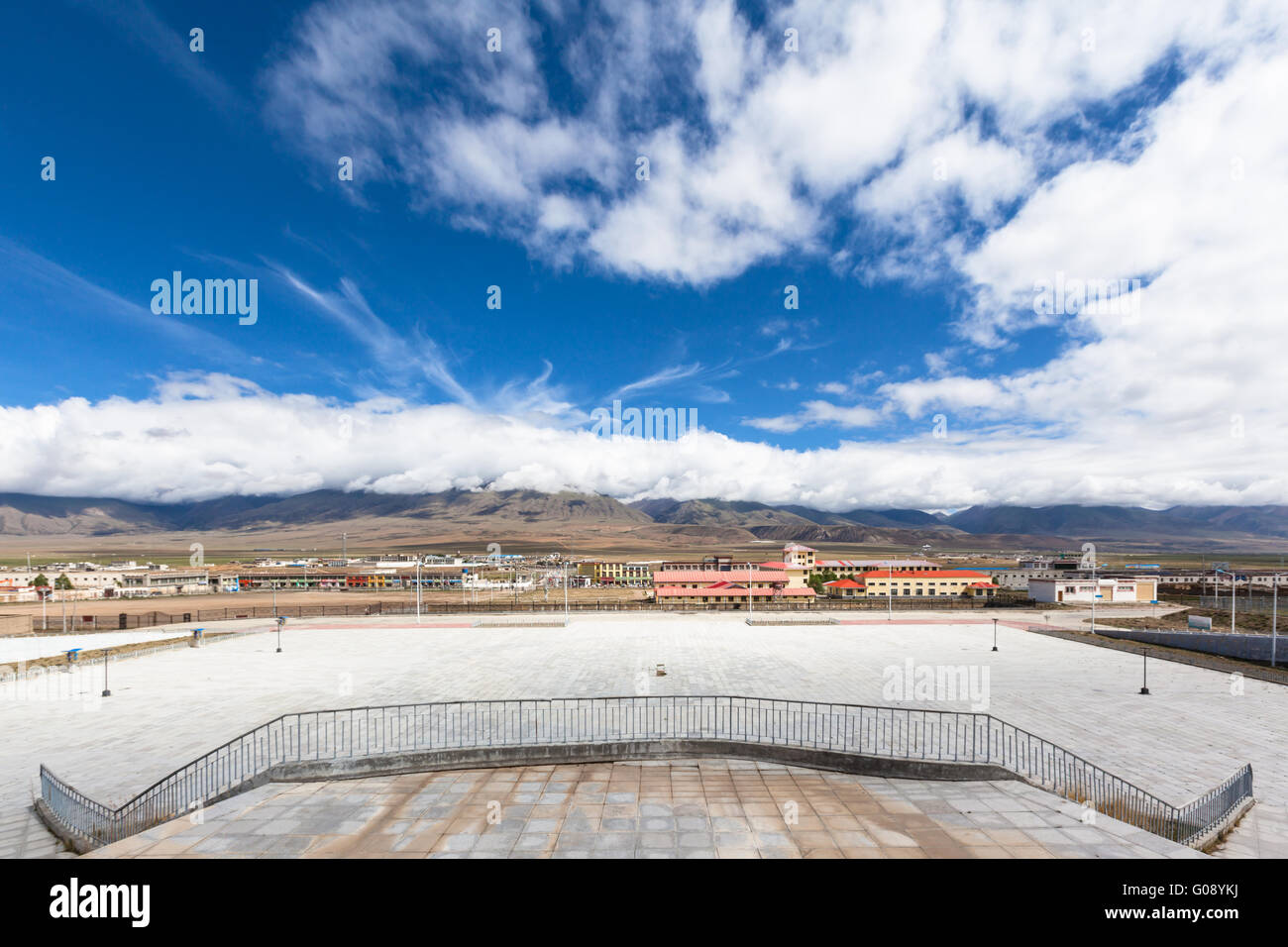 View of Damxung county from the railway station, Tibet, China - Stock Image