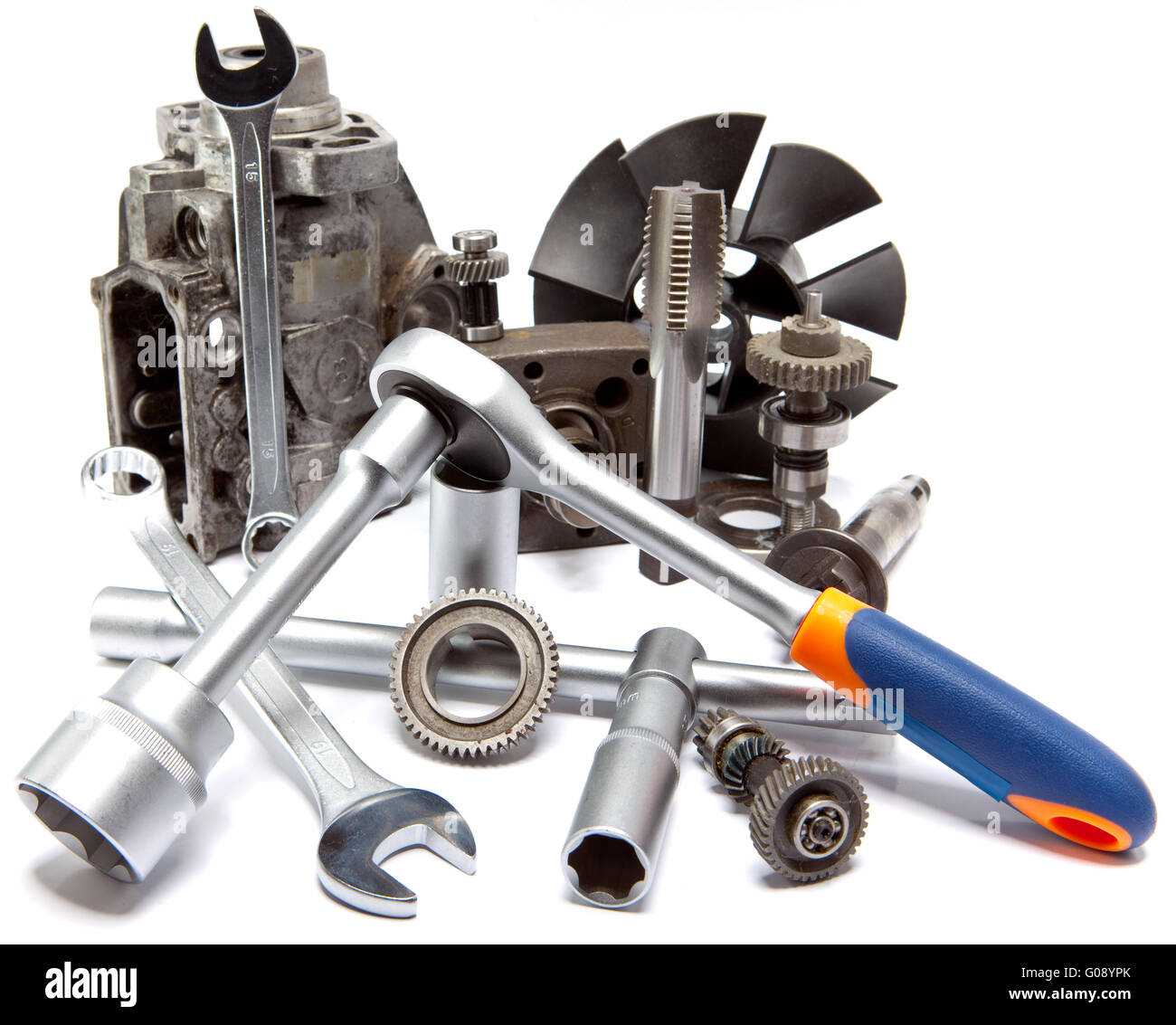part of car high pressure pump  and the tool for r - Stock Image