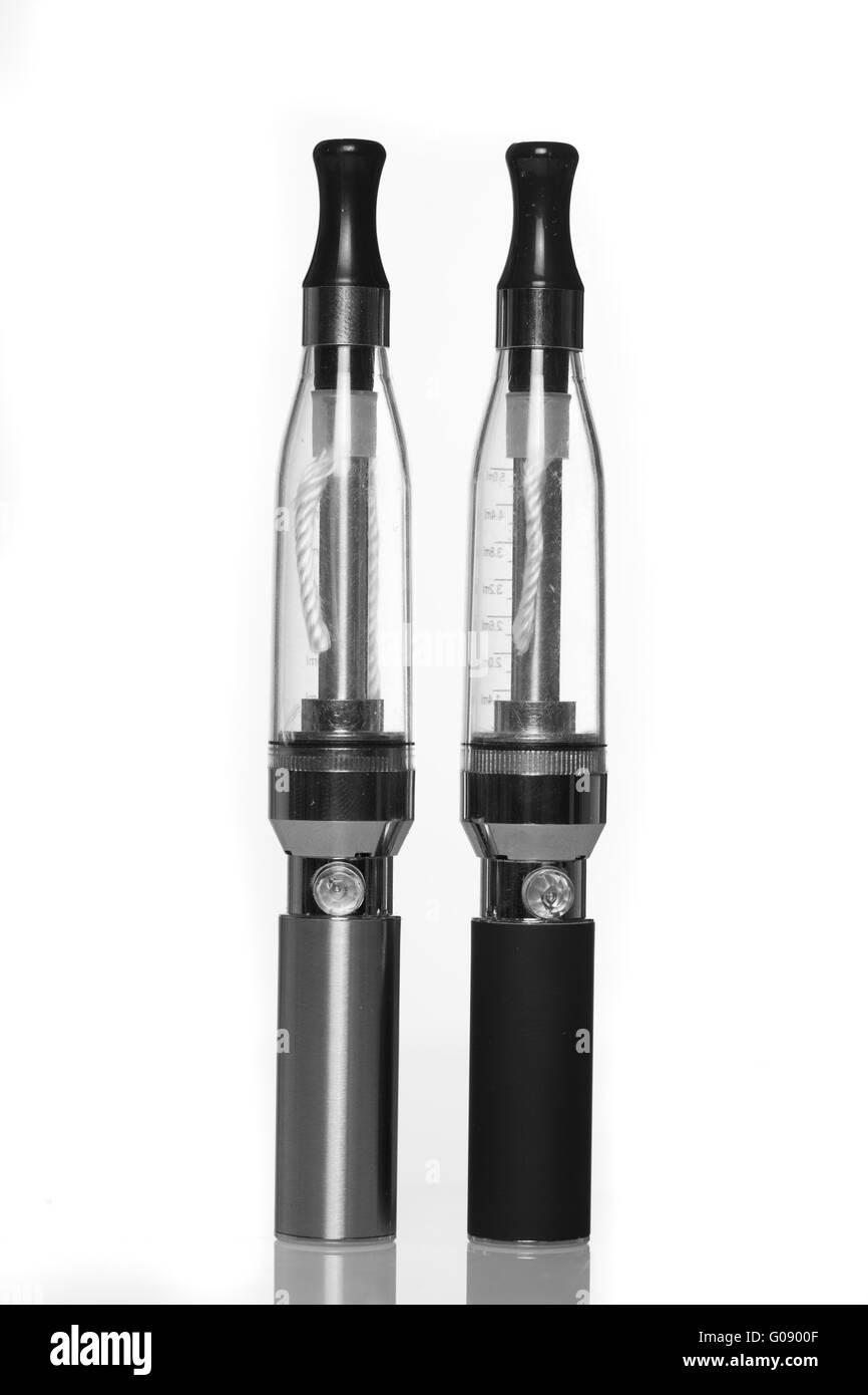 e-shisha , electronic cigarettes isolated on white - Stock Image