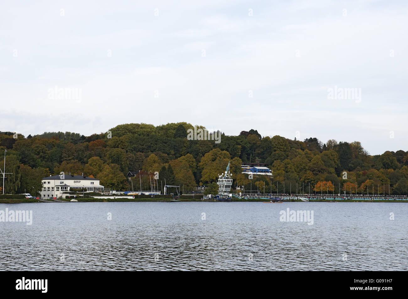 Autumnally atmosphere , Baldeneysee, Essen, German Stock Photo