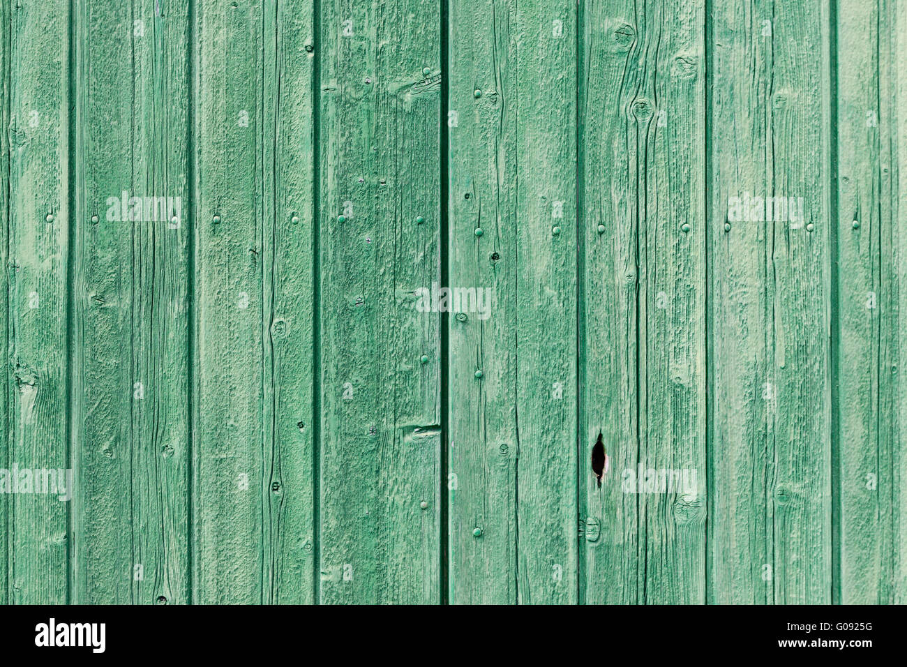 Old green painted weathered wooden planks - Stock Image