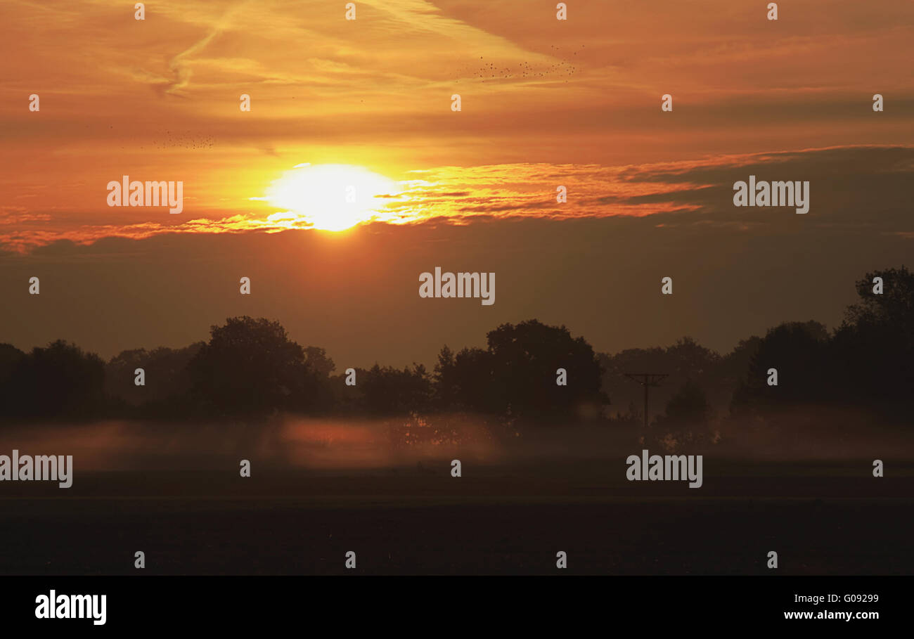 Sunrise on a morning in autumn Stock Photo