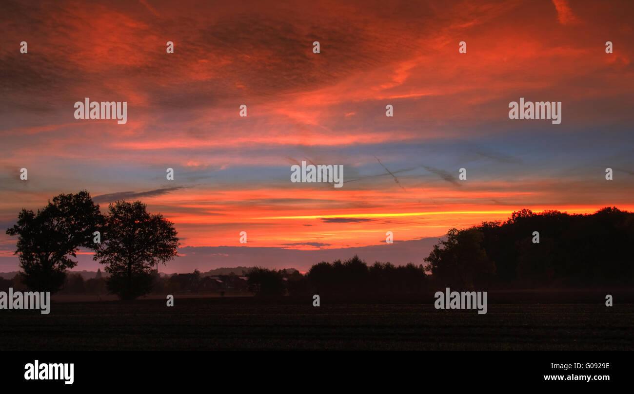 Sunrise in autumn #1 - Stock Image