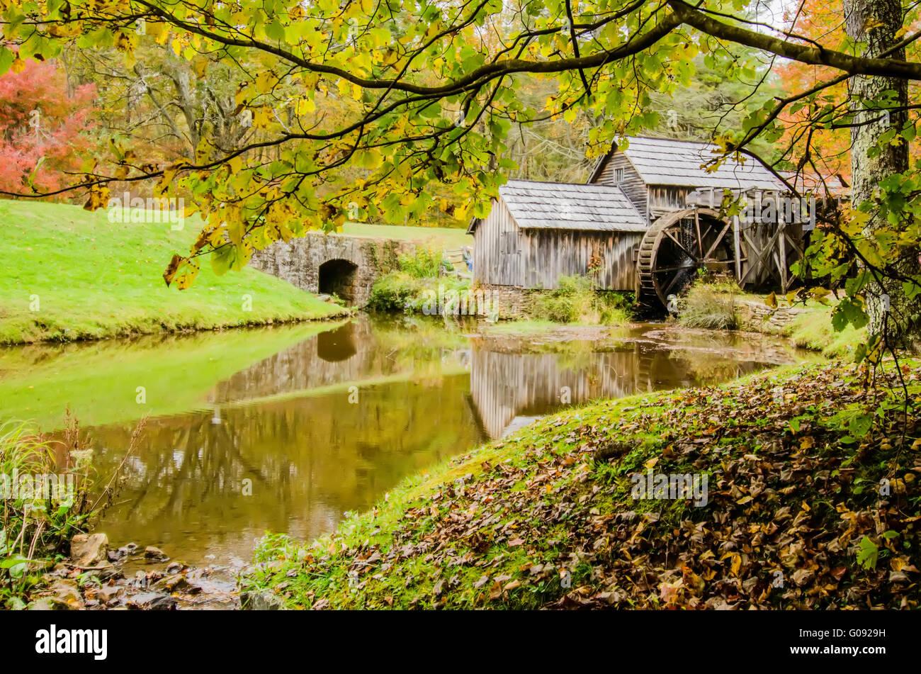 Virginia's Mabry Mill on the Blue Ridge Parkway in the Autumn season - Stock Image