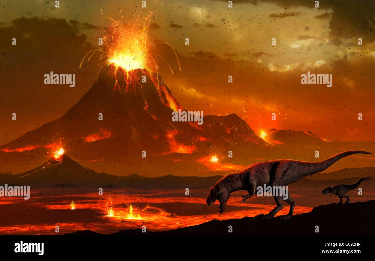 Artwork of a pair of tyrannosaur dinosaurs surveying a volcanic landscape. This depicts a scene at the end of the - Stock Image