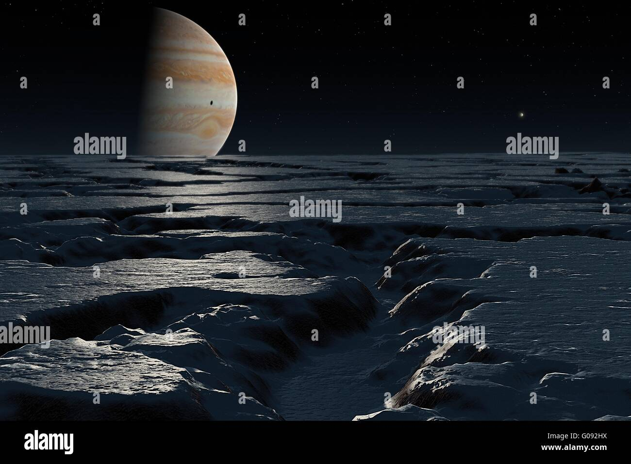 Jupiter over Europa planet Jupiter seen above horizon icy landscape Europa Jupiter is shown with a shadow on it - Stock Image