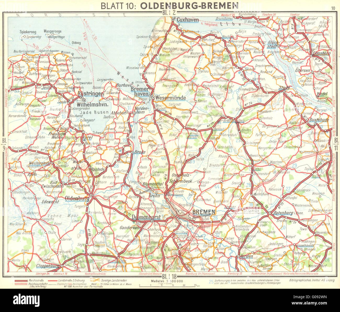 Bremen Map Stock Photos & Bremen Map Stock Images - Alamy