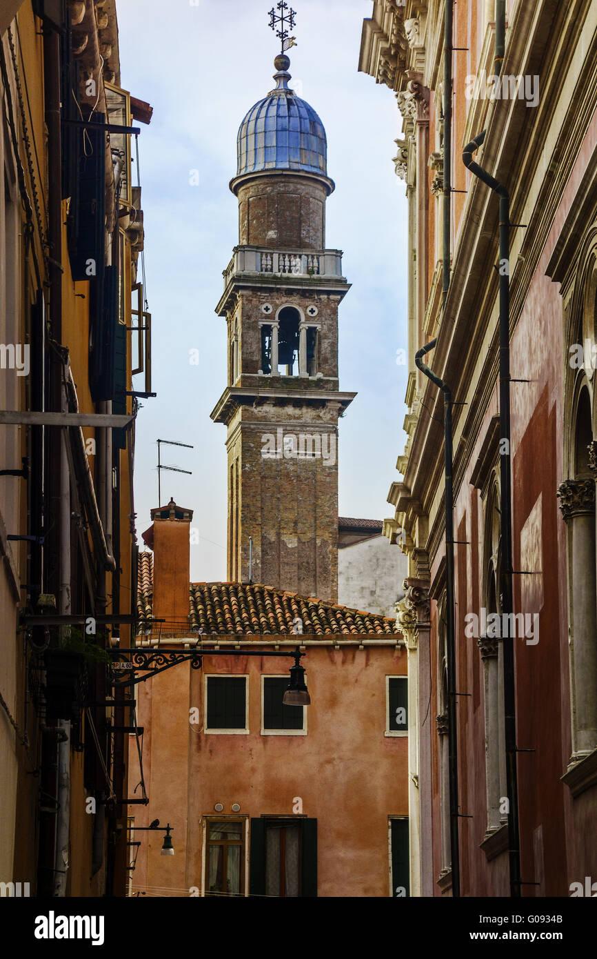 Church Steeple From A Backstreet Venice Italy - Stock Image