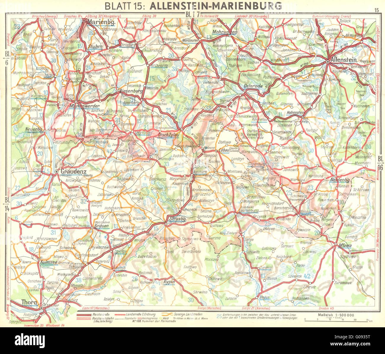 GERMANY: Allenstein-Marienburg, 1936 vintage map - Stock Image