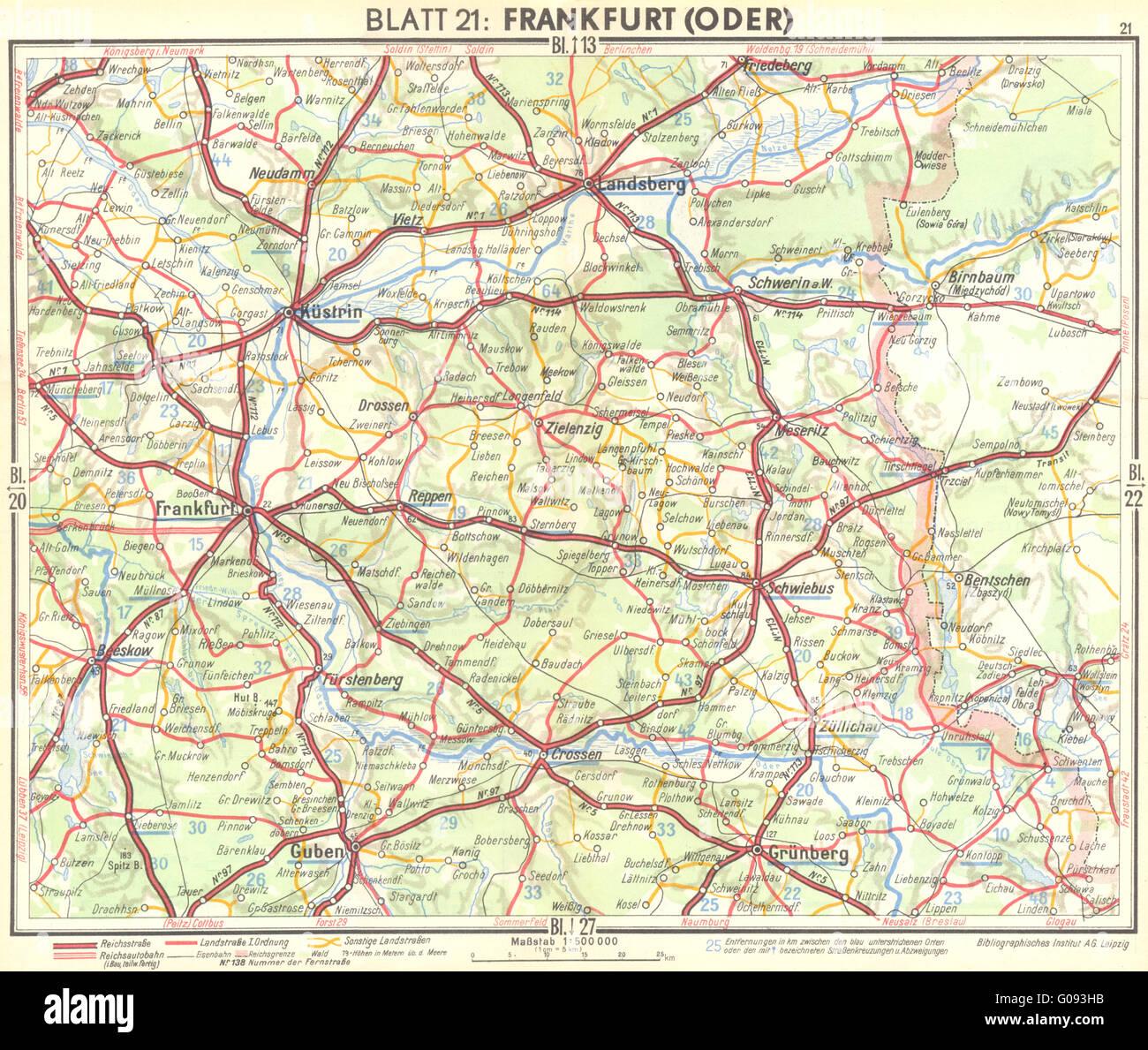 GERMANY: Frankfurt(Oder), 1936 vintage map Stock Photo: 103462615 ...