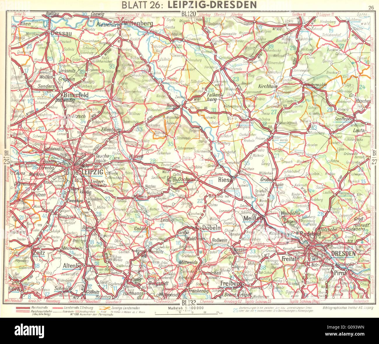 Germany Leipzig Dresden 1936 Vintage Map Stock Photo 103462849