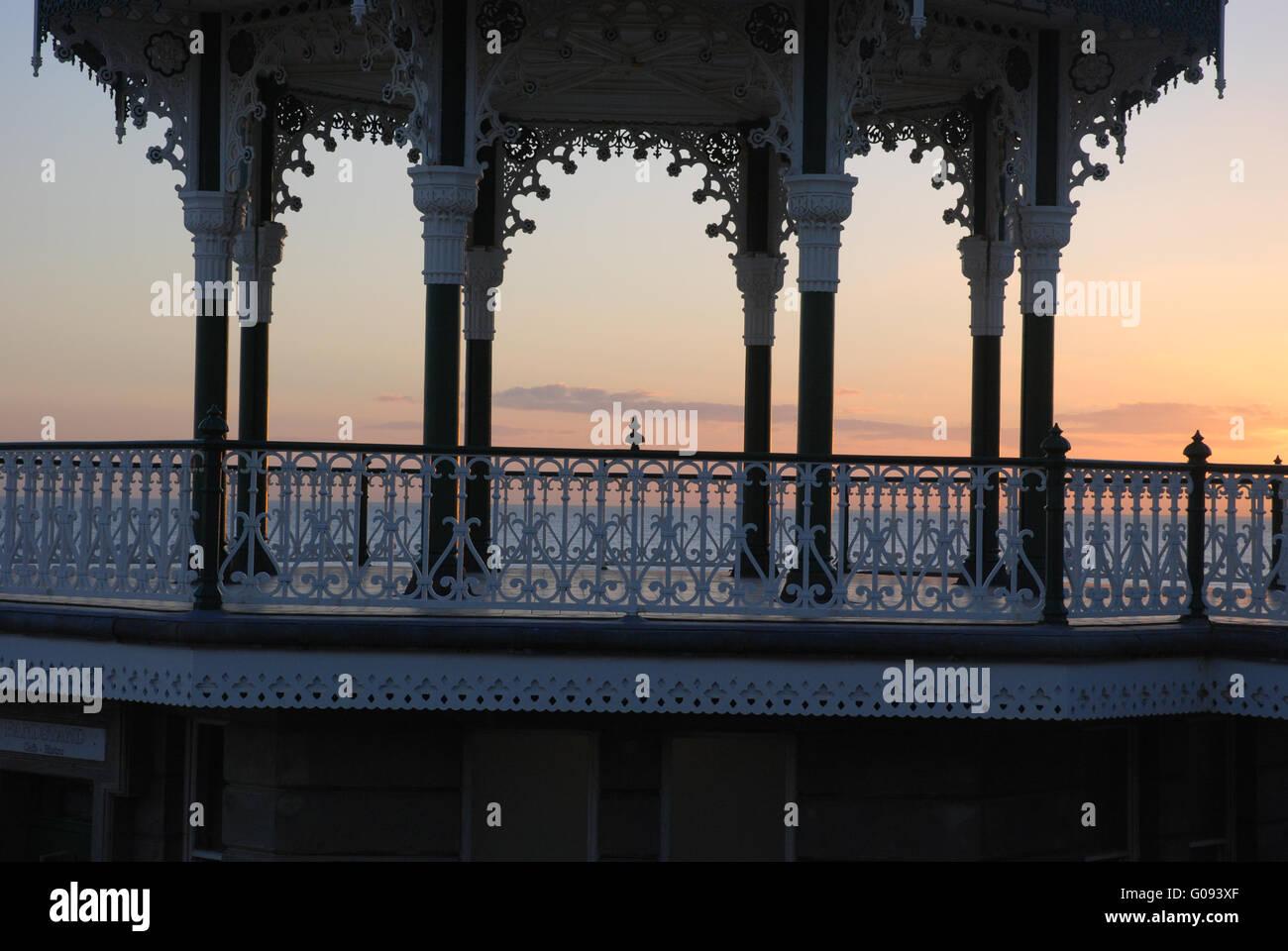 Brighton Bandstand sun set - Stock Image