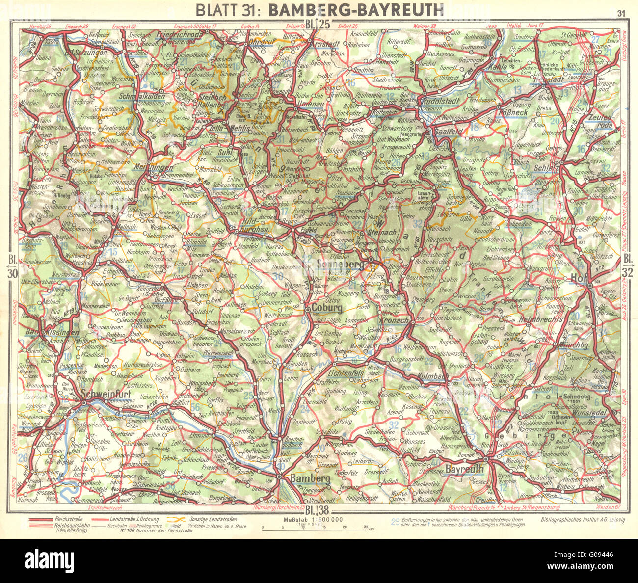 Germany Bamberg Bayreuth 1936 Vintage Map Stock Photos Germany