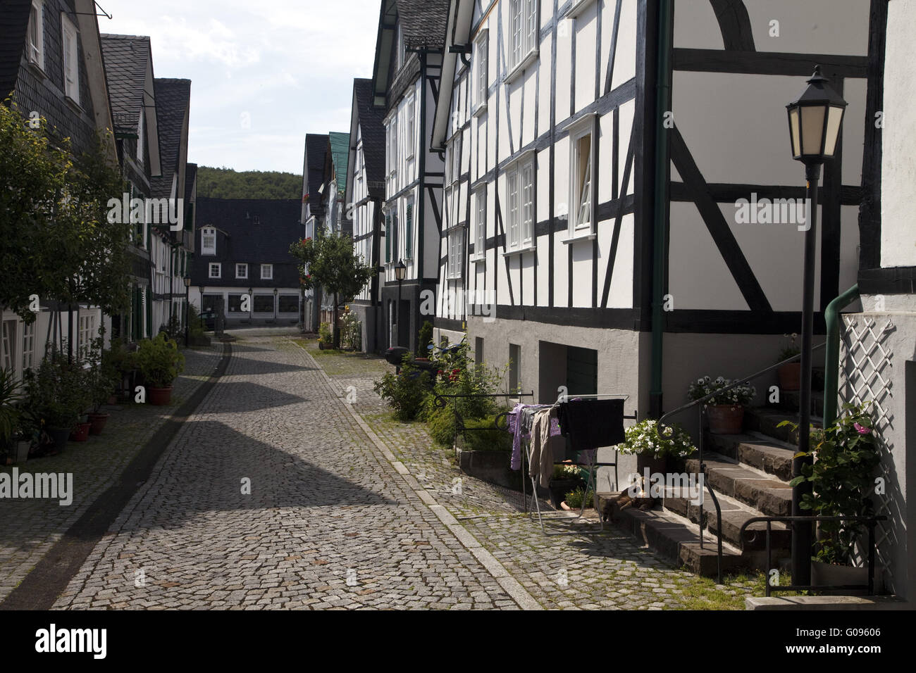 Old town with half-timbered houses in Freudenberg. - Stock Image