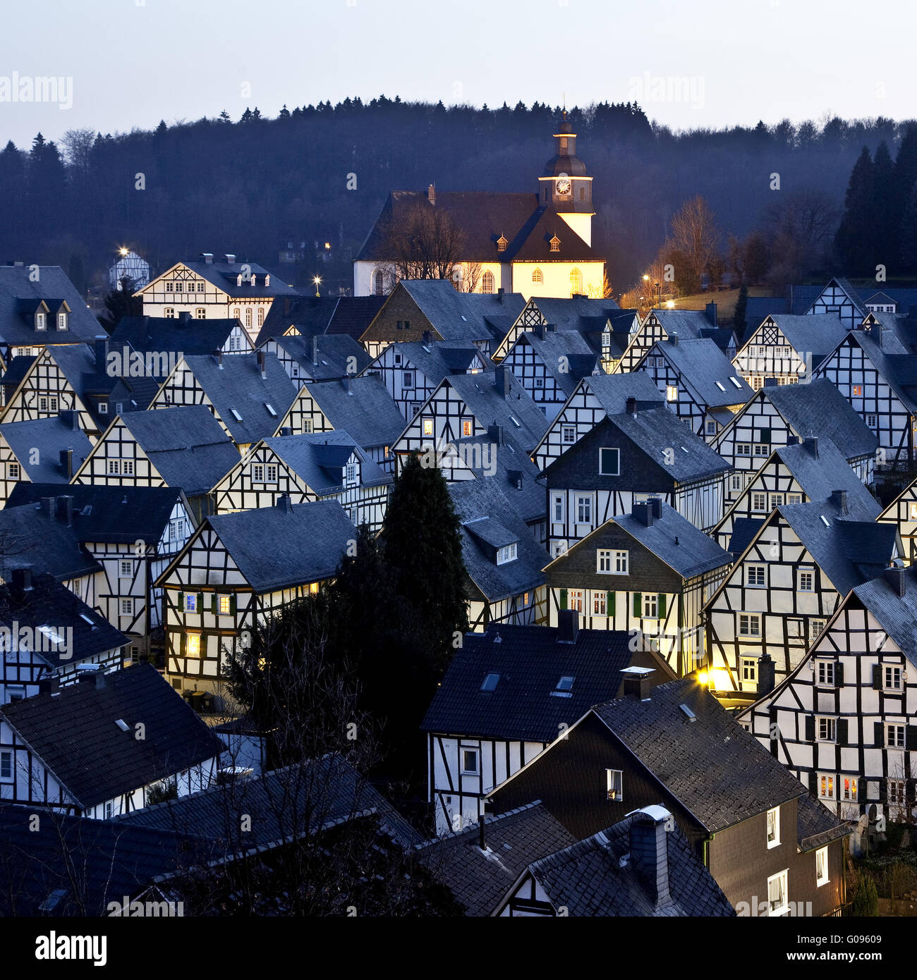 Old town with half-timbered houses in Freudenberg. Stock Photo