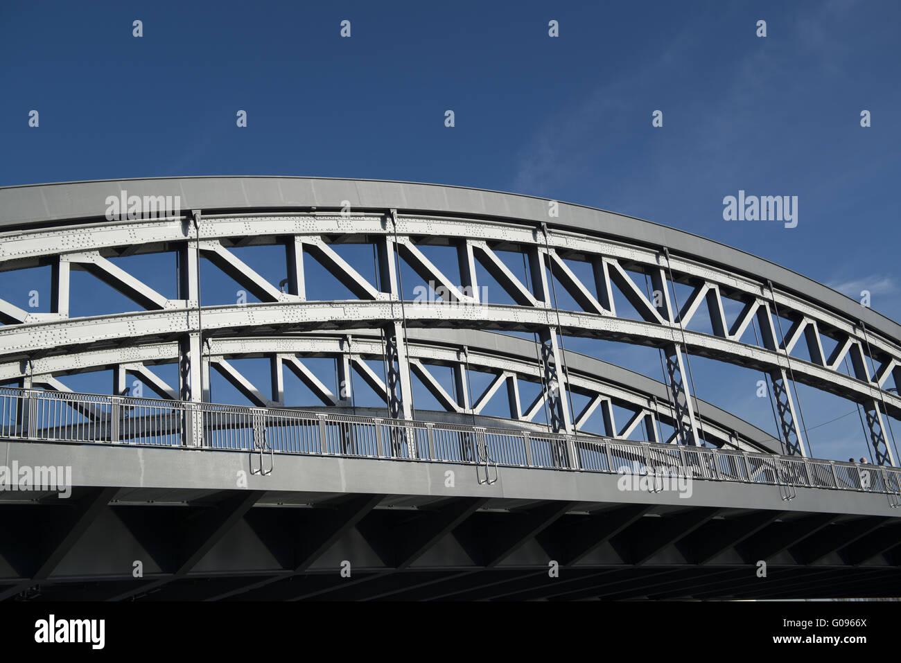 Honsell Bridge in the East Harbour of Frankfurt - Stock Image