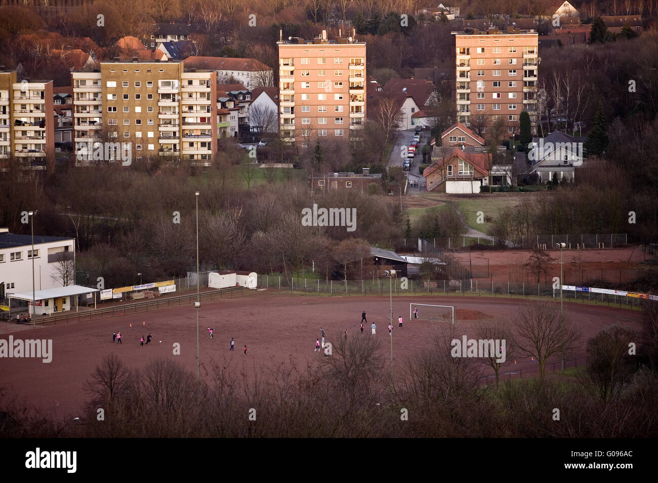 Soccer field and Housing development in Bottrop. - Stock Image
