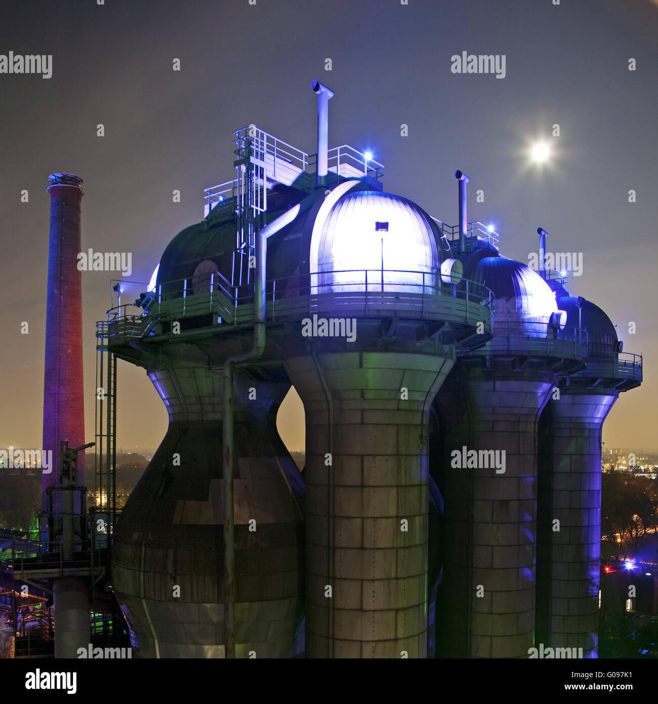 Illuminated North Duisburg Landscape Park, Germany - Stock Image