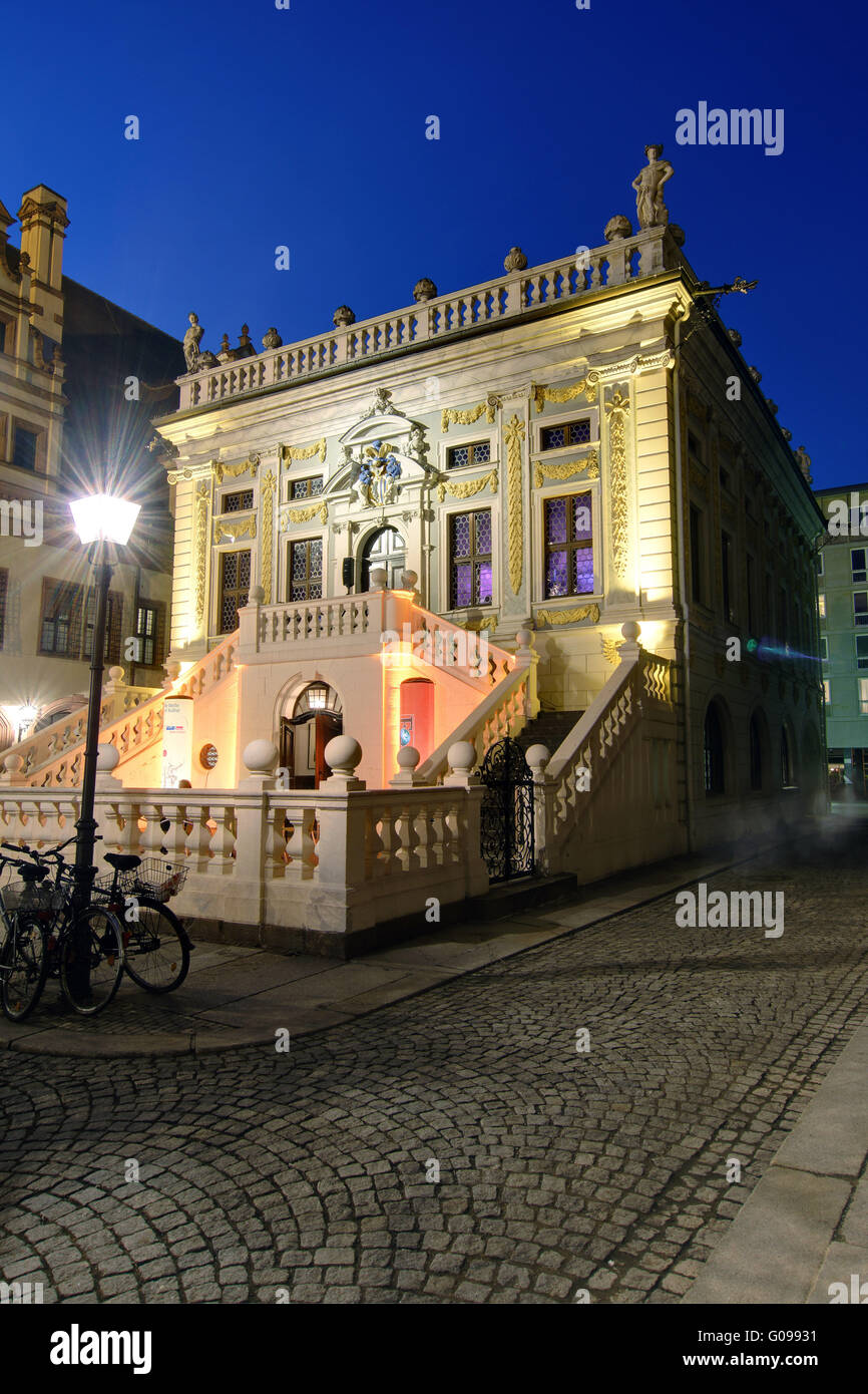 Trade Exchange in Leipzig at night. Stock Photo