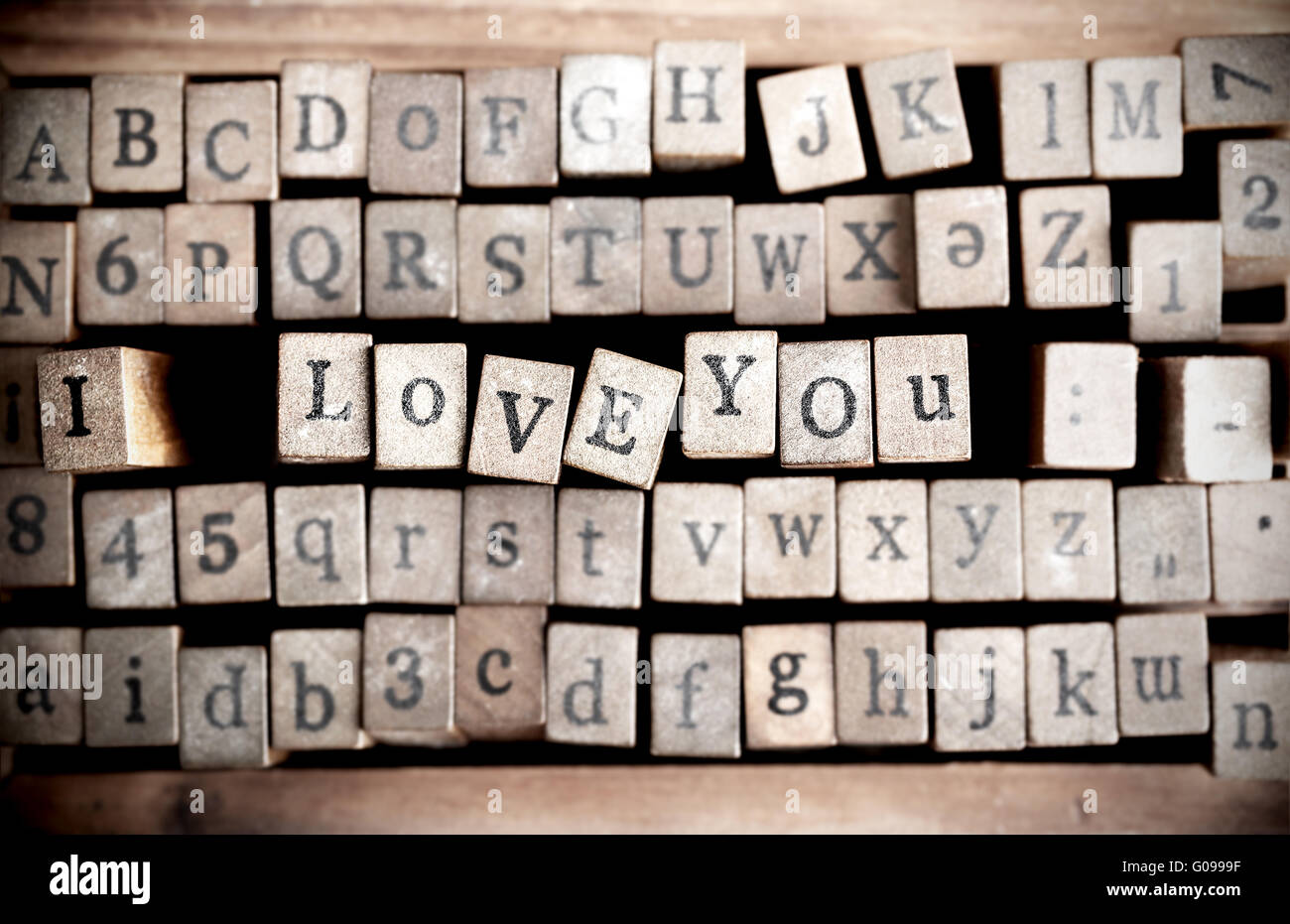 Wood cube make message i love you Stock Photo