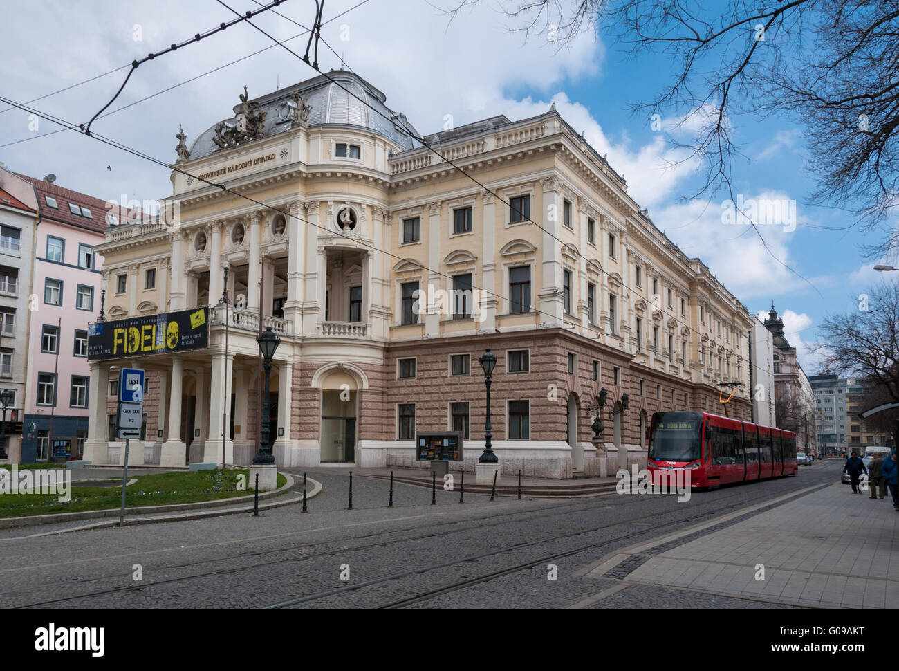 The National Theatre with modern tram in foreground, Bratislava, Slovakia - Stock Image