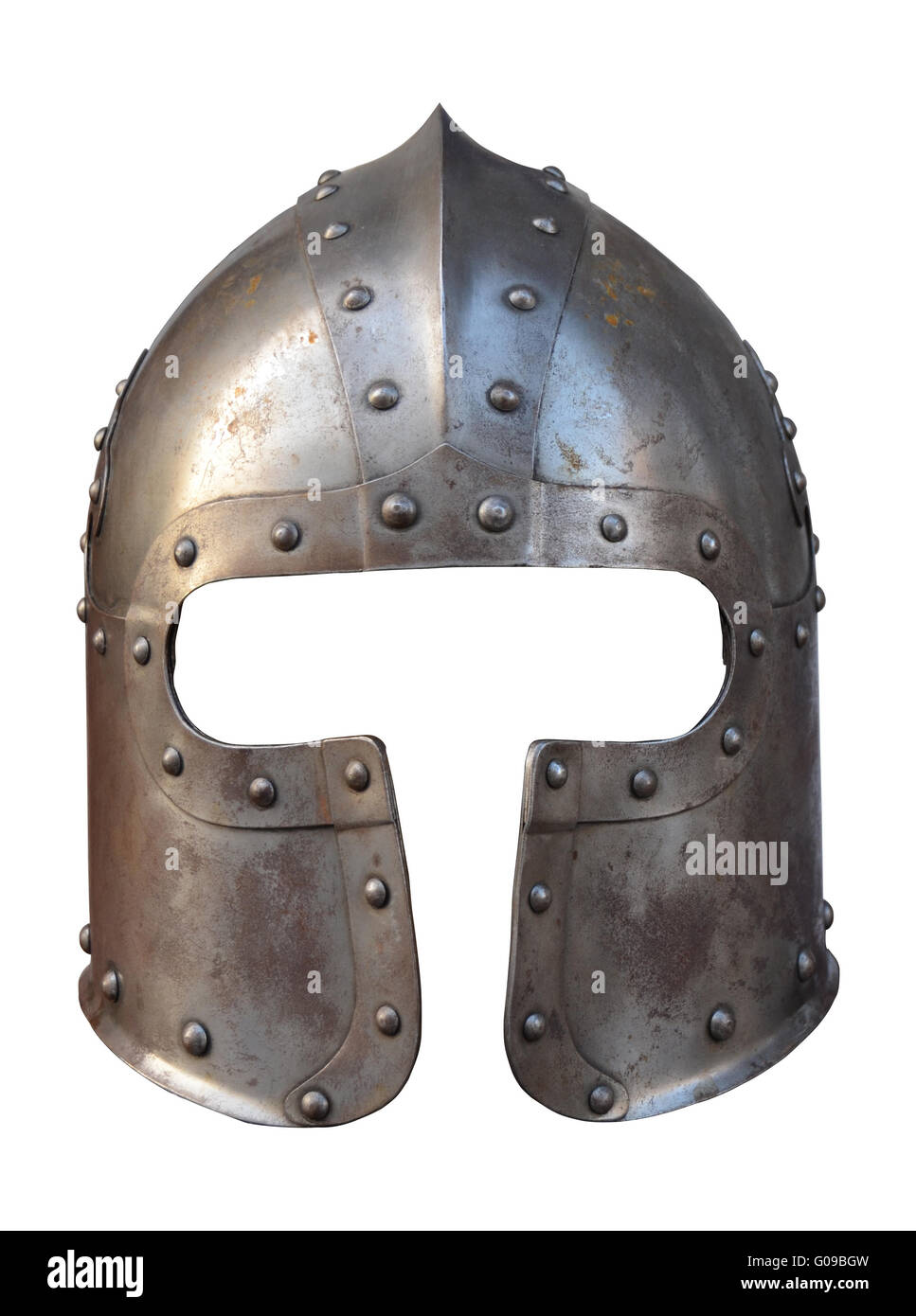 Isolation Of The Helmet Of A Medieval Suit Of Armour On A