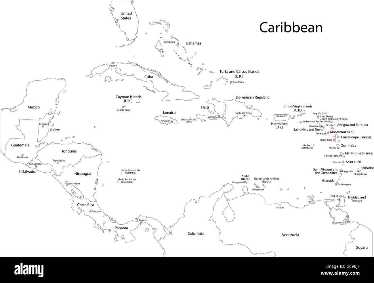 Outline Caribbean map - Stock Image