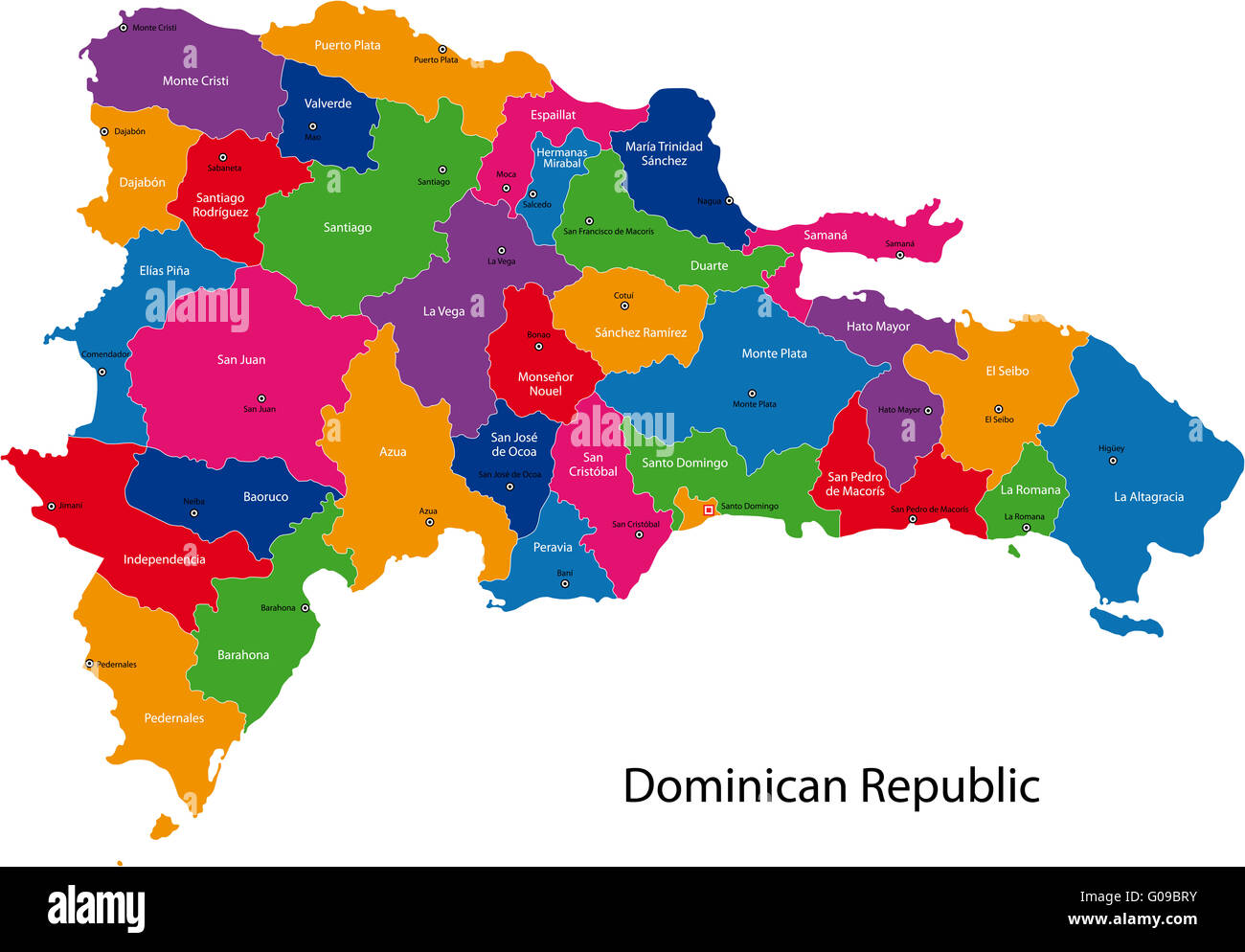 Map of Dominican Republic Stock Photo: 103469071 - Alamy