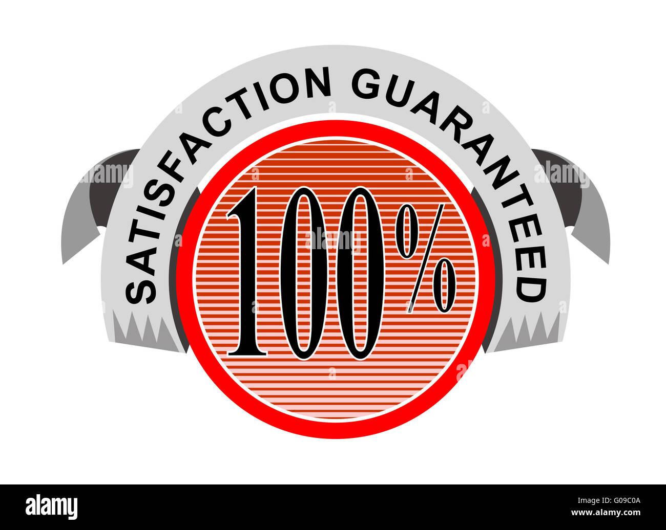 100% Satisfaction Guaranteed Shield Curly Ribbon - Stock Image