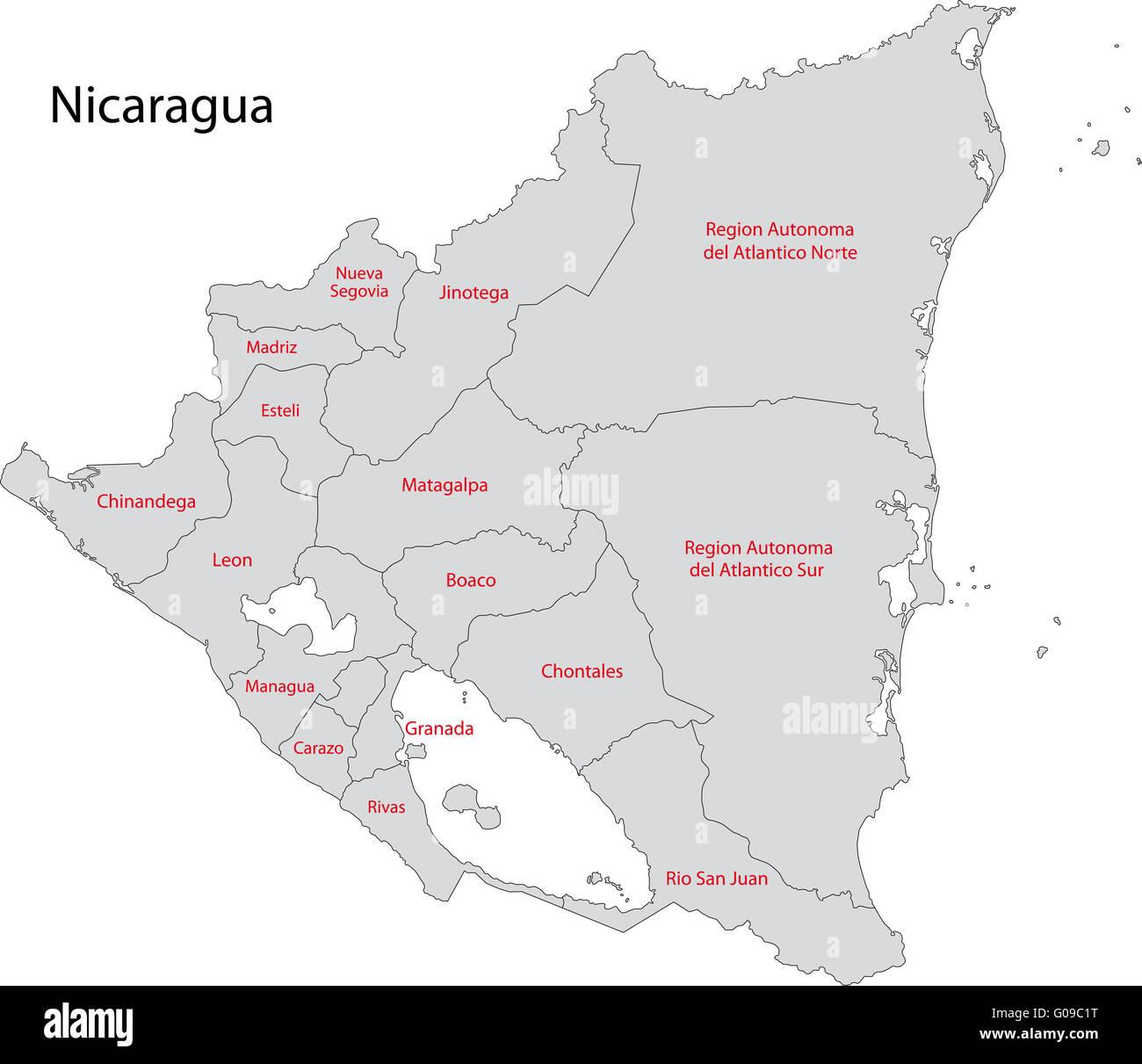 Gray Nicaragua map - Stock Image
