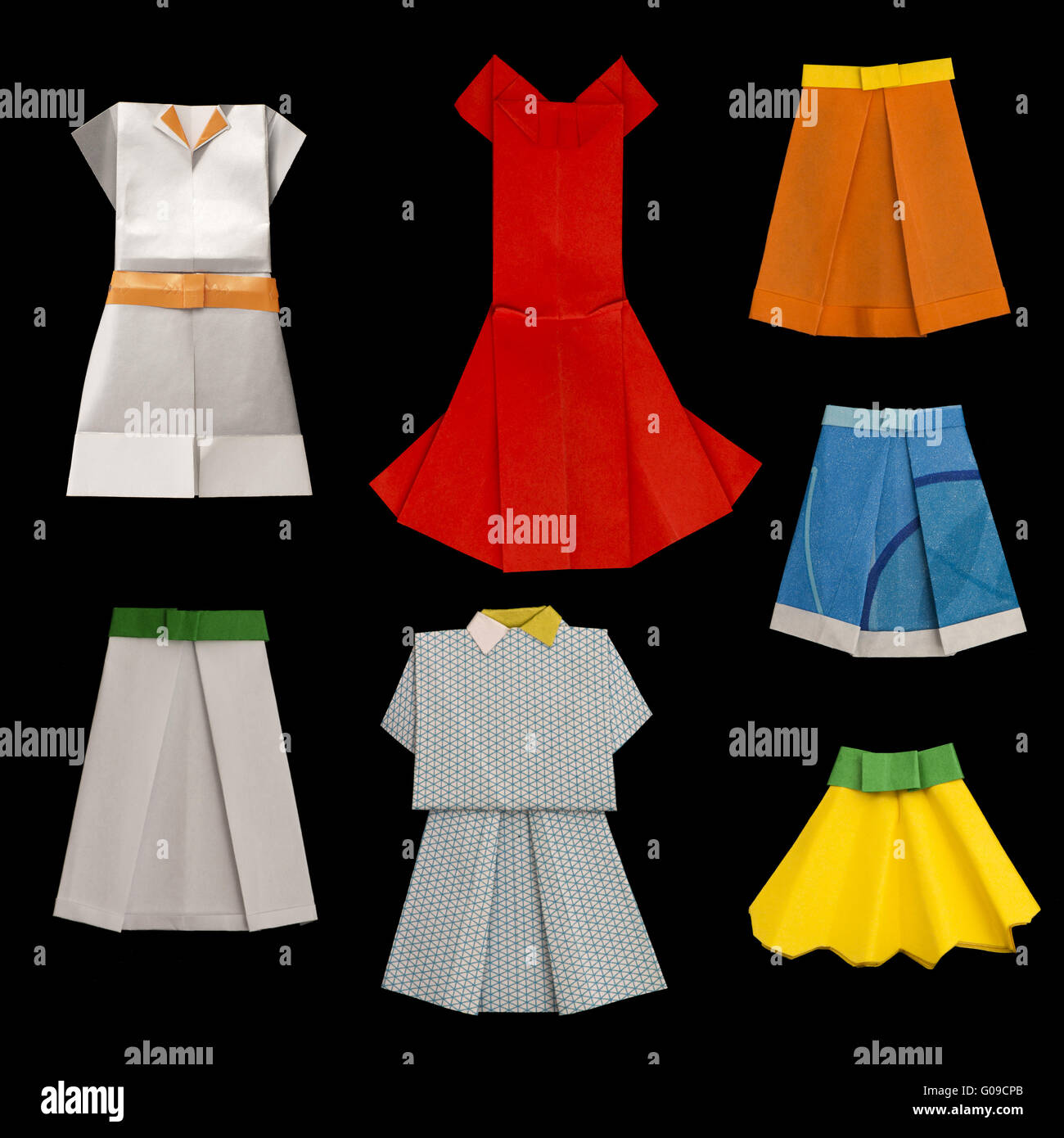 Set of Dresses and Skirts made of paper - Stock Image