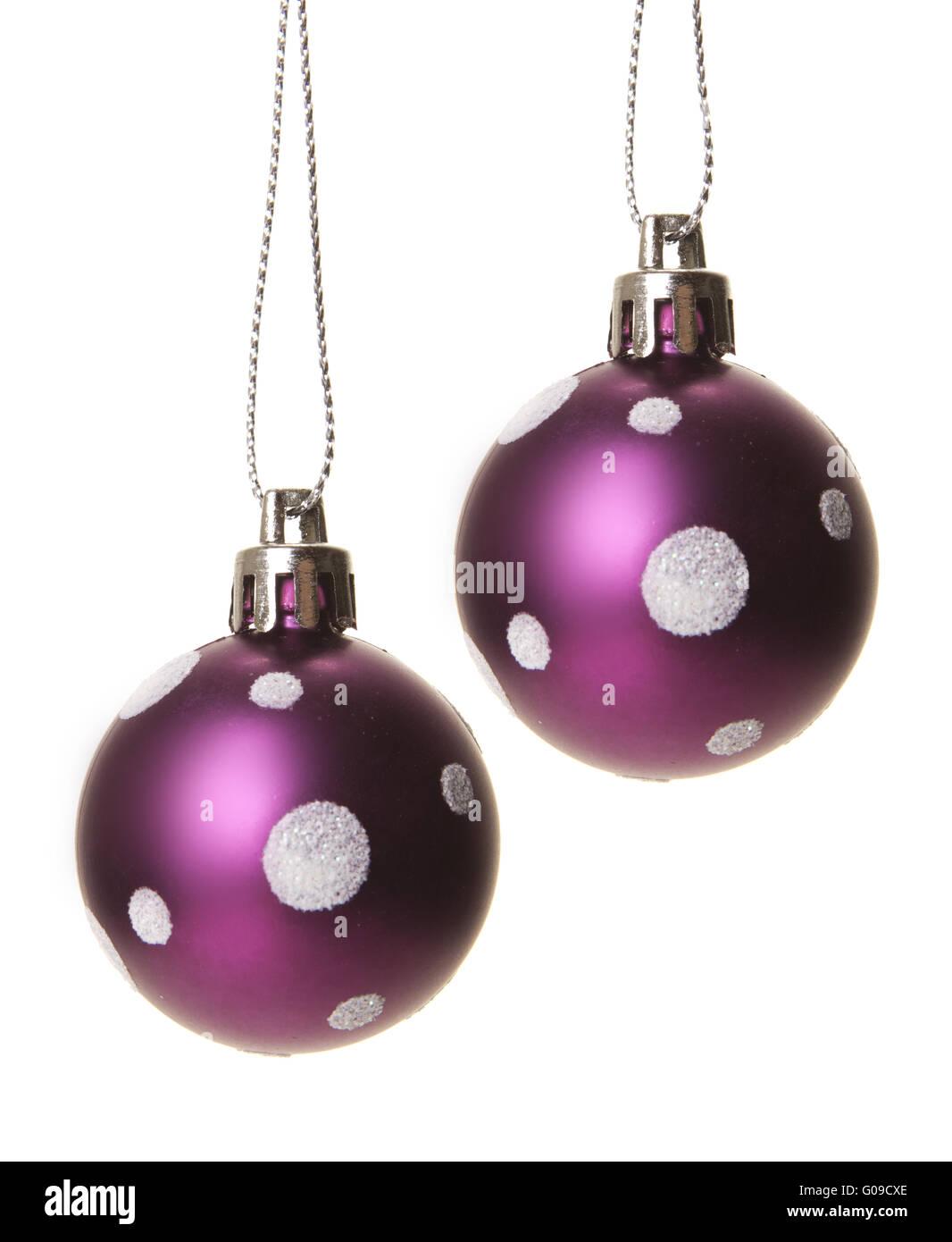purple christmas balls isolated, white background - Stock Image