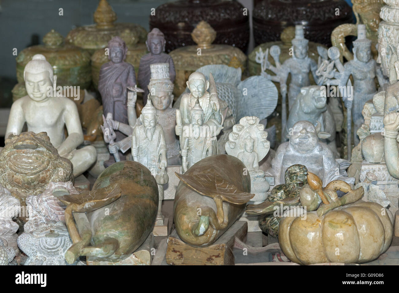 Traditional marble handwork for sale,Cambodia Stock Photo