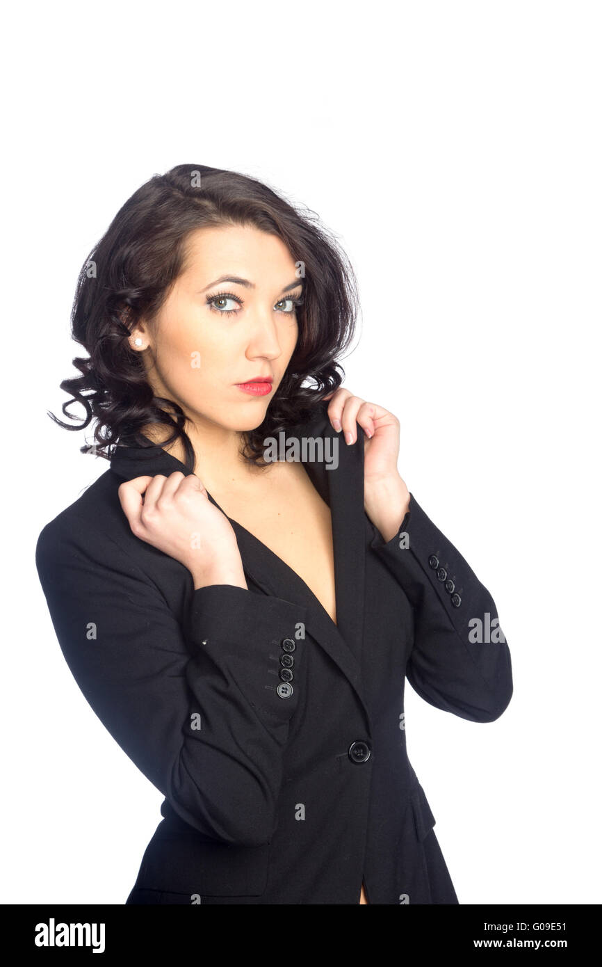 Business woman portrait, isolated over a white background - Stock Image