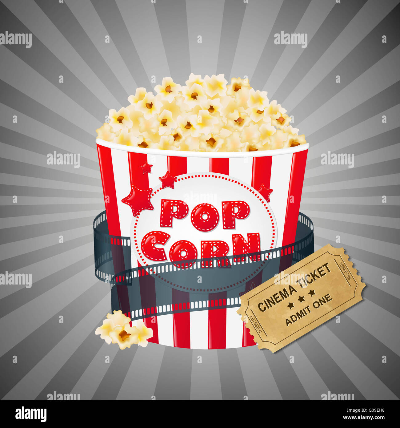 Grey Grungy Background With Popcorn And Tickets Stock Photo