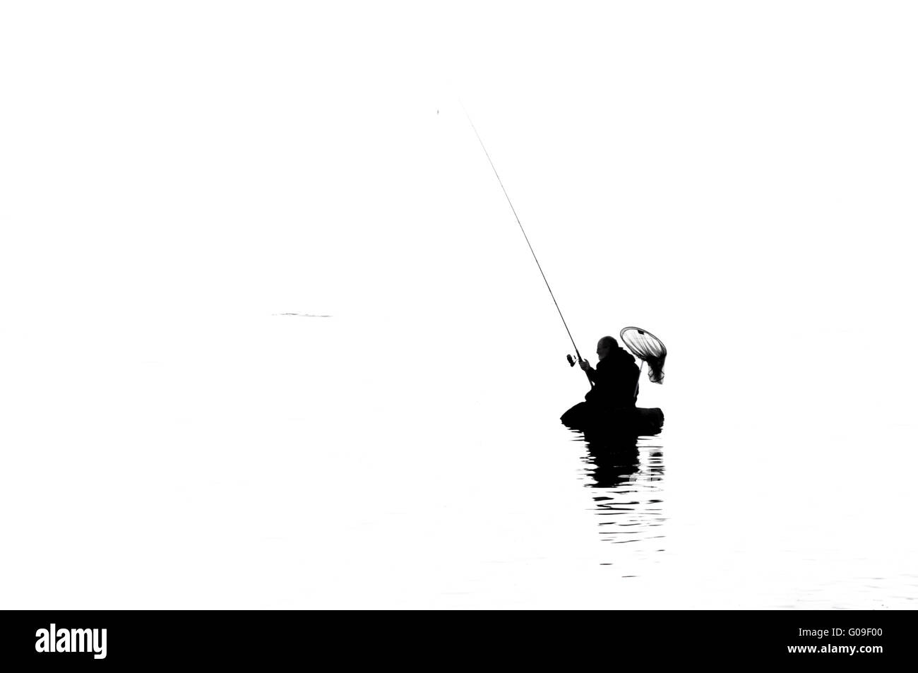 Man with Fishing - Stock Image