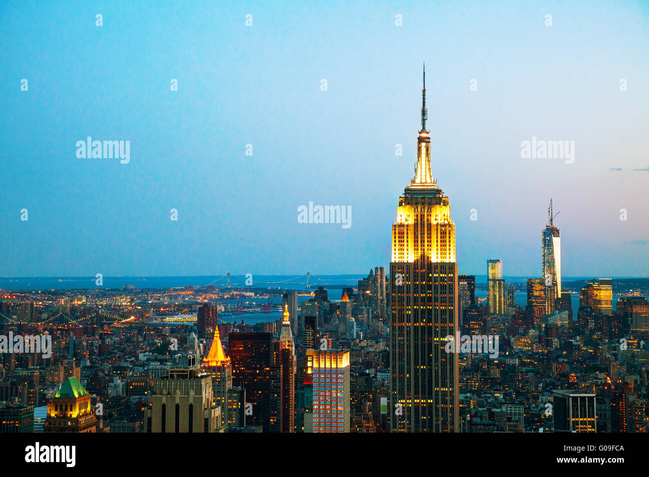 New York cityscape in the night with Empire State - Stock Image