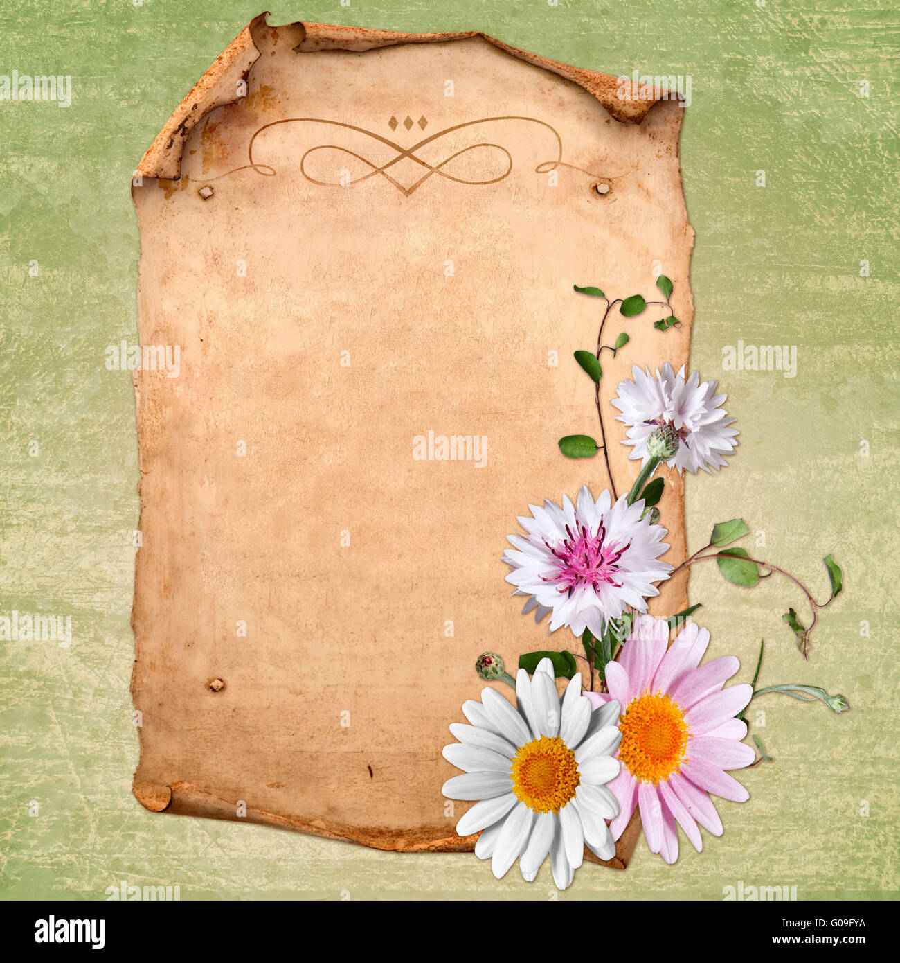 Grunge papers design in scrap-booking style - Stock Image