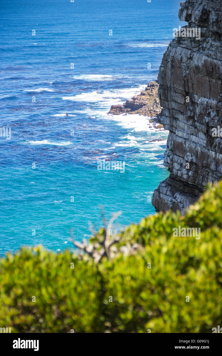 Nature landscape next to Cape town city, oceanscape with high cliff - Stock Image