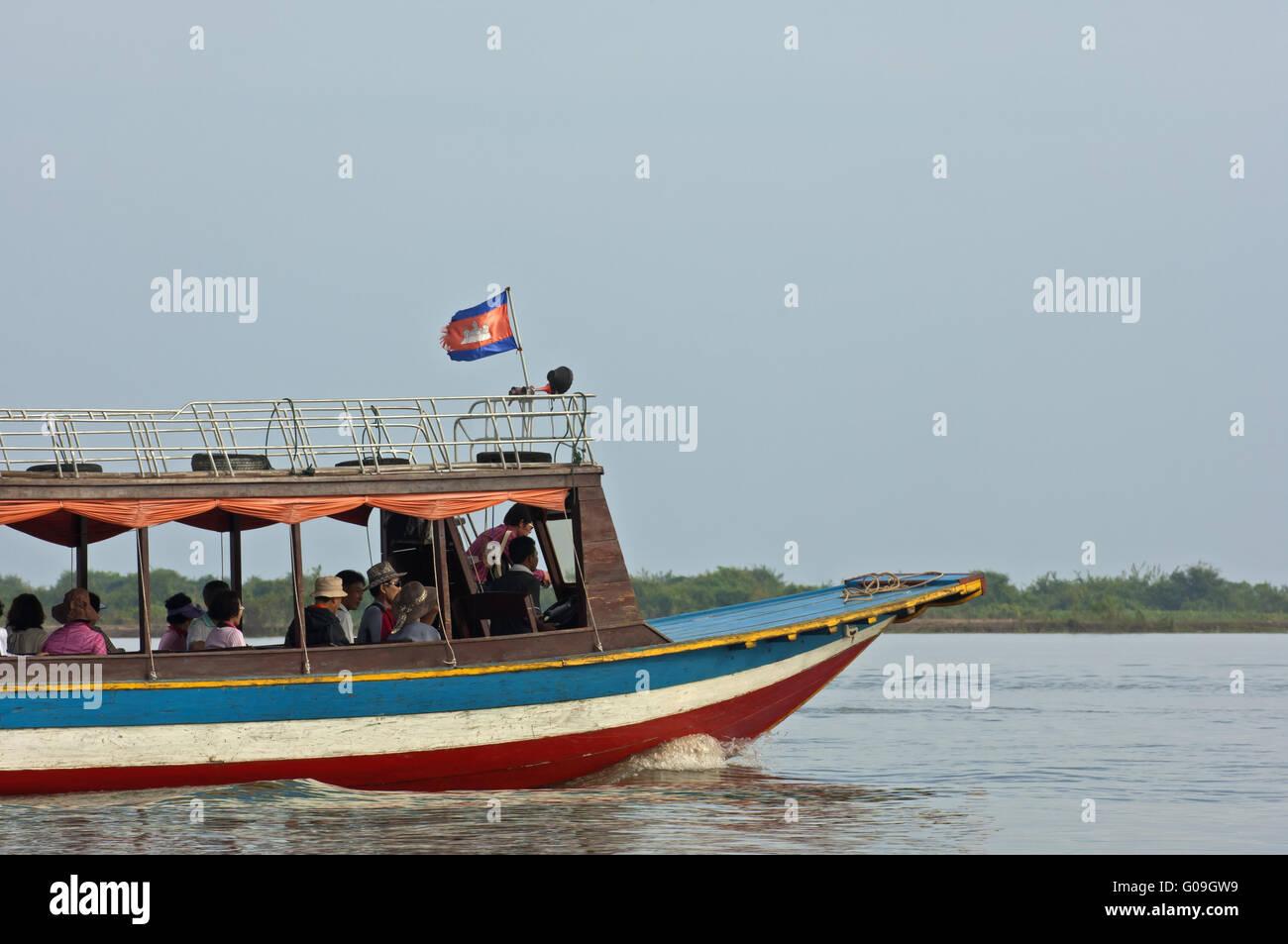 Ferry boat on the Tonle Sap lake, Cambodia Stock Photo