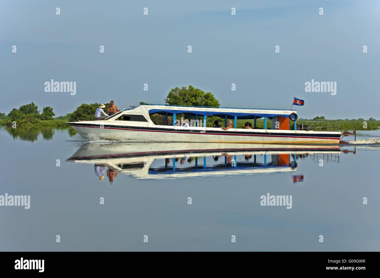 Excursion ship on the Tonle Sap lake, Cambodia Stock Photo