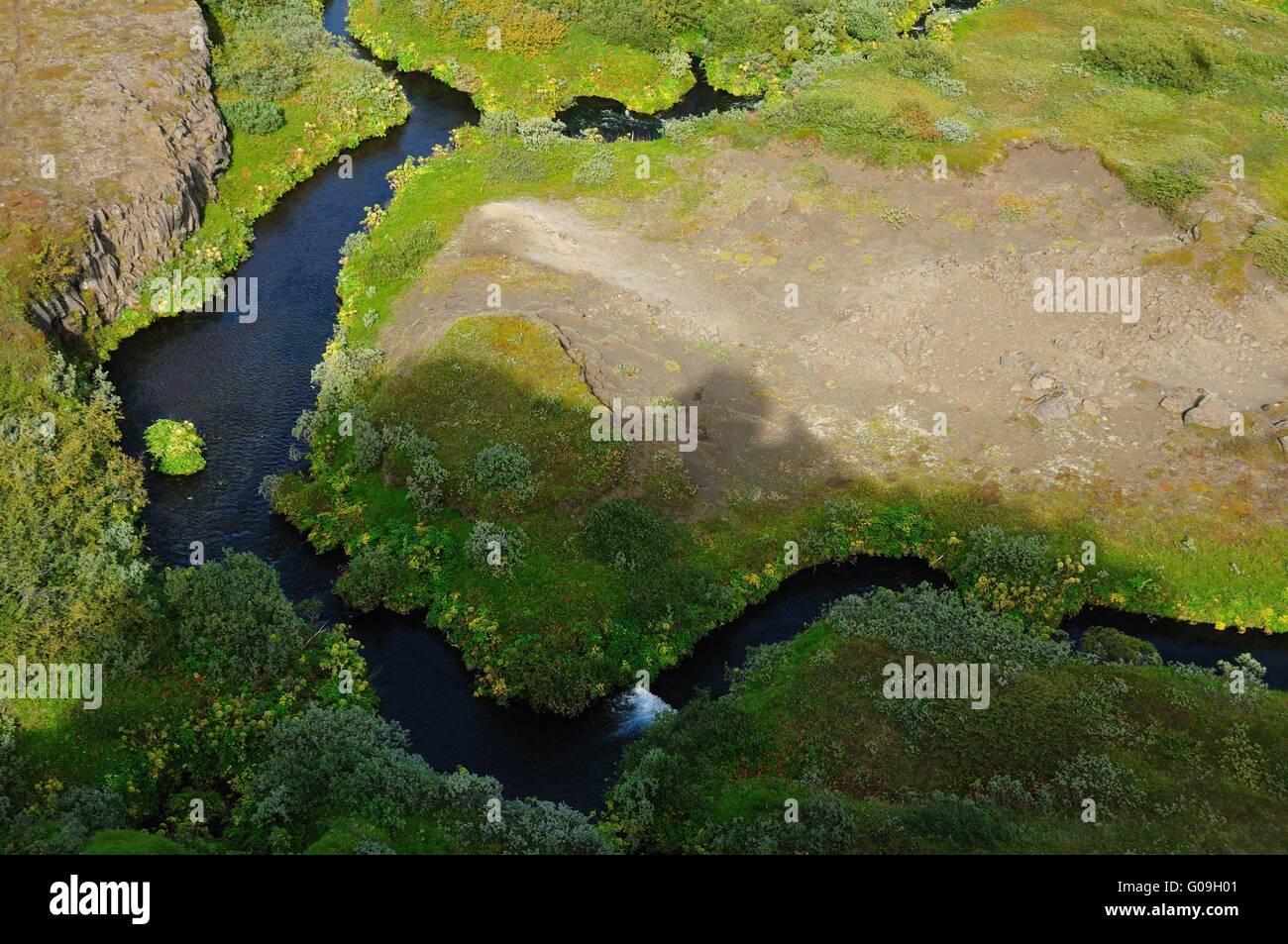 River landscape near Dettifoss, Iceland - Stock Image