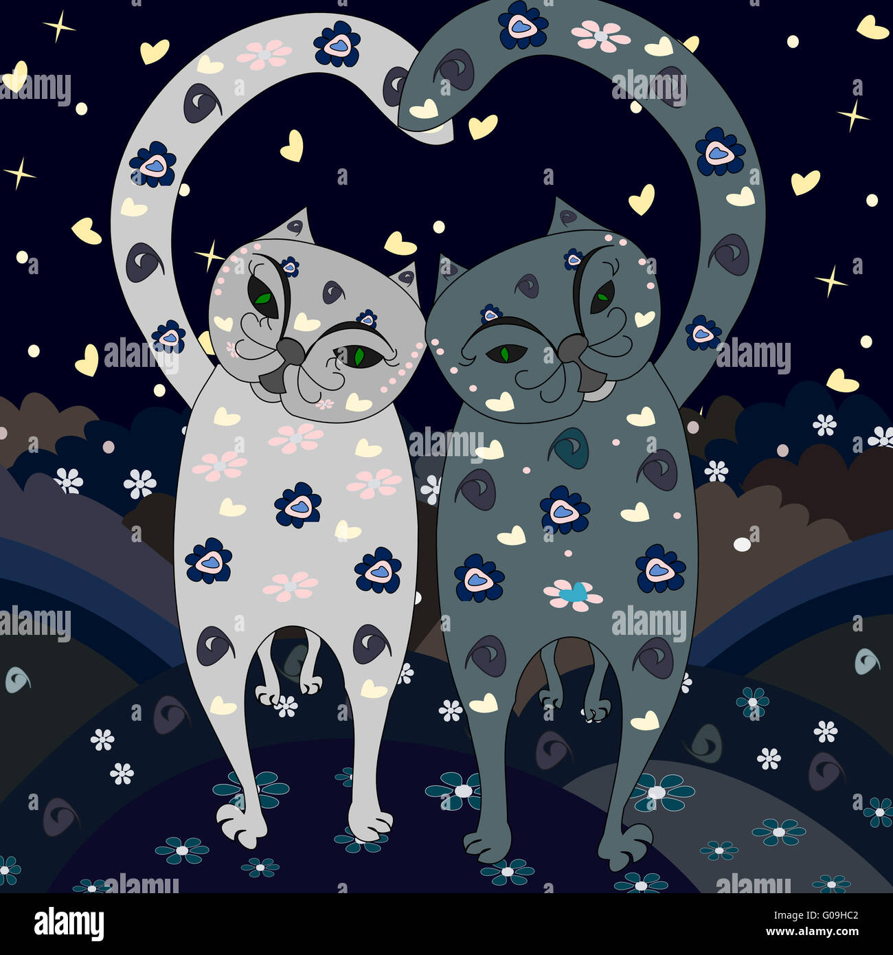 Stylish love cats go together - Stock Image