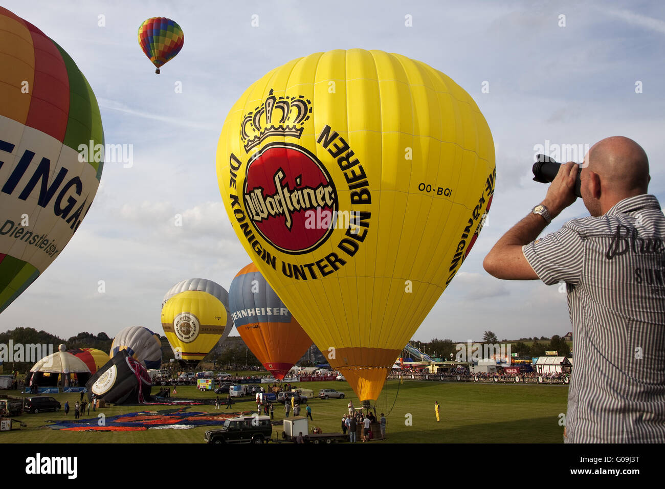 Hot air balloons in the Montgolfiade in Warstein. - Stock Image