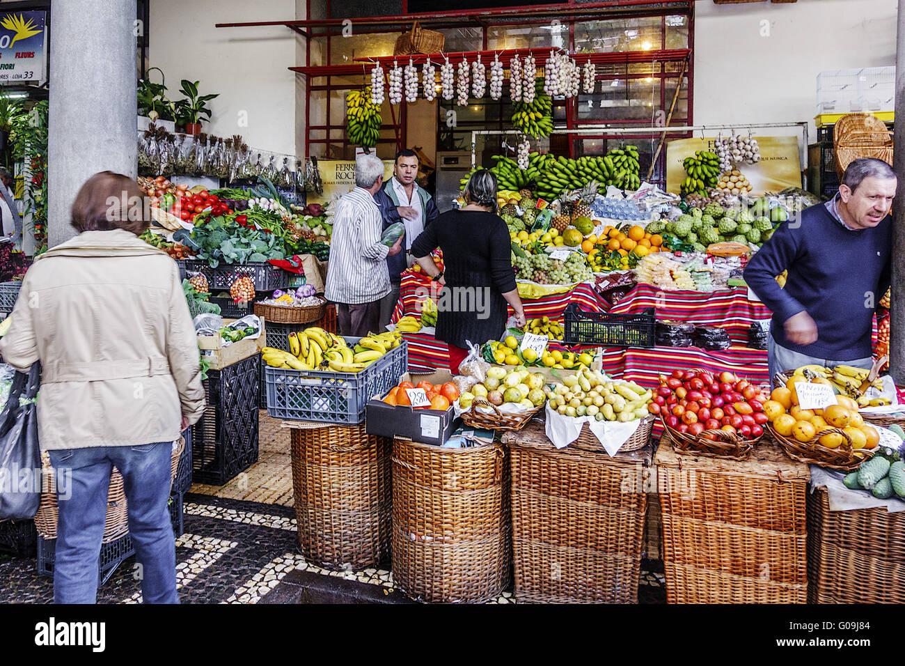 Fruit and Veg Market Funchal Madeira Portugal - Stock Image
